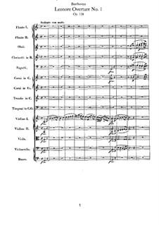 Leonore. Ouvertüre No.1, Op.138: Vollpartitur by Ludwig van Beethoven