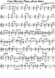 Caro mio ben (O Maiden Dear): Für Gitarre by Tommaso Giordani