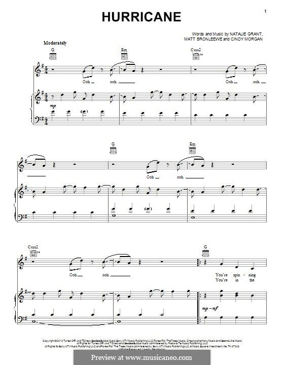 Hurricane: Für Stimme und Klavier (oder Gitarre) by Cindy Morgan, Matt Bronleewe, Natalie Grant