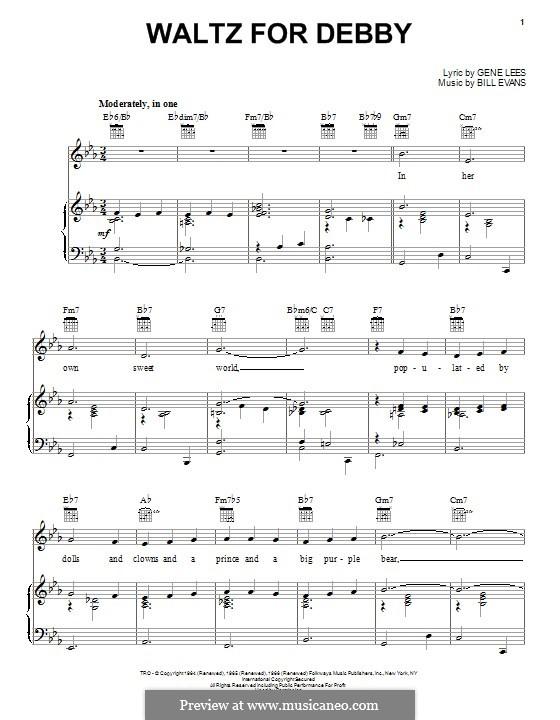 Waltz for Debby: Für Stimme und Klavier (oder Gitarre) by Bill Evans