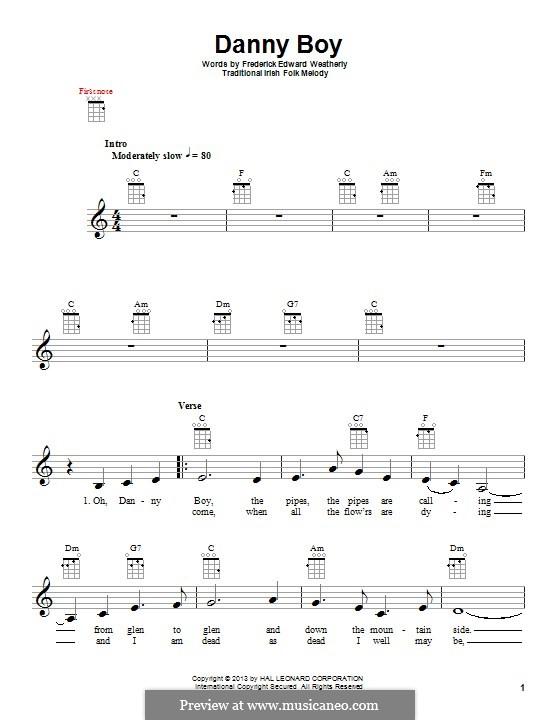 Danny Boy (Londonderry Air) Printable Scores: Für Ukulele by folklore