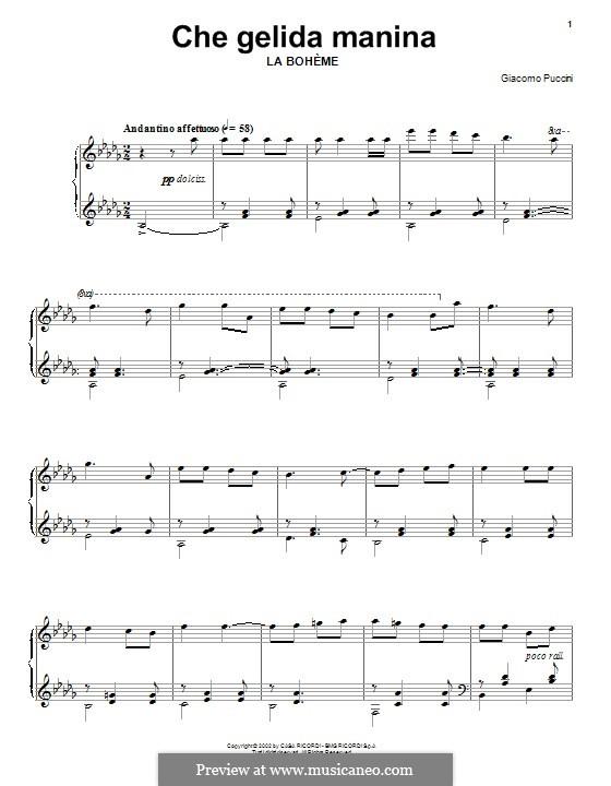 Che gelida manina: Für Klavier by Giacomo Puccini