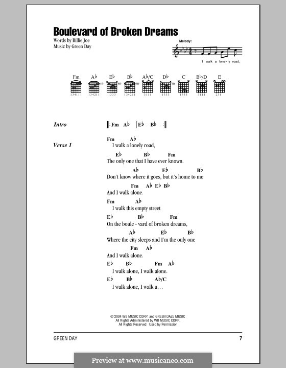 Boulevard of Broken Dreams (Green Day): Texte und Akkorde by Billie Joe Armstrong, Tré Cool, Michael Pritchard