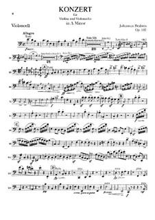 Konzert für Violine, Cello und Orchester in a-Moll, Op.102: Cello Solo Stimme by Johannes Brahms