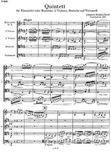 Quintett für Klarinette und Streicher in h-moll, Op.115: Vollpartitur by Johannes Brahms