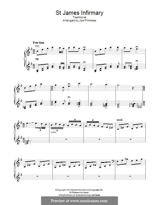 St. James Infirmary: Für Stimme und Klavier (oder Gitarre) by folklore