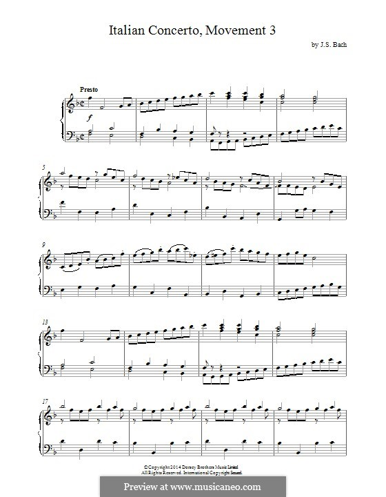 Italienischen Konzert, BWV 971: Teil III. Bearbeitung für Klavier by Johann Sebastian Bach