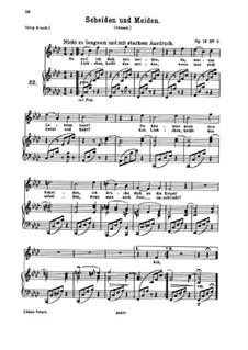 Fünf Gedichte, Op.19: Nr.2 Scheiden und Meiden by Johannes Brahms