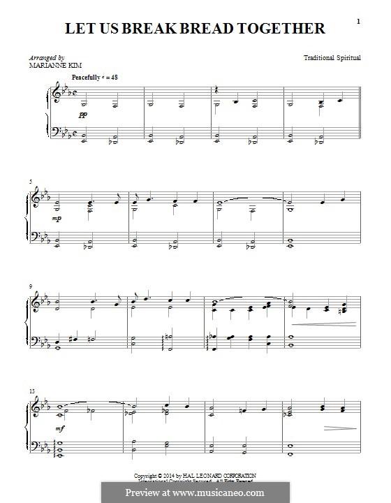 Let Us Break Bread Together: Für Klavier by folklore