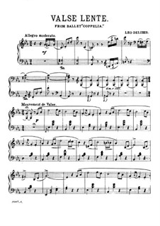 Coppelia oder Das Mädchen mit den Glasaugen: Waltz, for piano by Léo Delibes