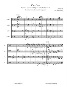 Cancan: For mixed level cello ensemble or quartet by Jacques Offenbach