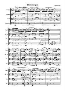 Humoresken, B.187 Op.101: No.7, for string quartet by Antonín Dvořák