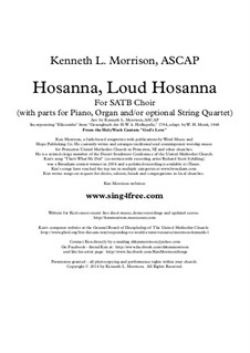 Hosanna, Loud Hosanna: For choir, strings and piano (or organ) by Unknown (works before 1850)