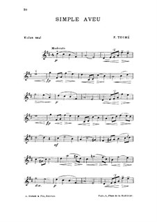 Simple aveu, Op.25: For violin (or mandolin) by Francis Thomé