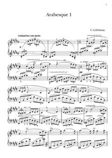 Zwei Arabesken, L.66: Arabeske Nr.1, für Klavier by Claude Debussy