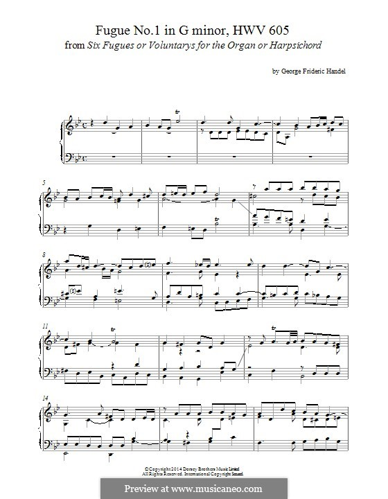 Six Grandes Fugues: Fugue No.1 in G Minor, for piano by Georg Friedrich Händel