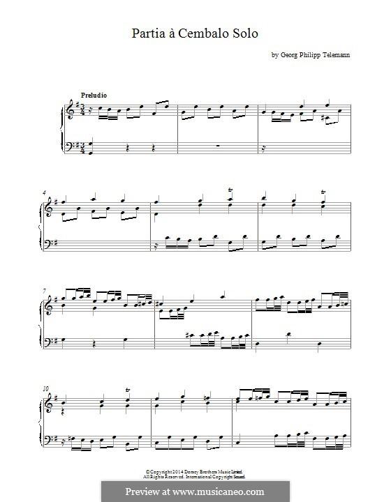 Partia à Cembalo Solo: Version für Klavier by Georg Philipp Telemann