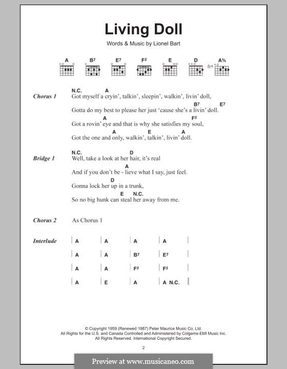 Living Doll: Texte und Akkorde by Lionel Bart