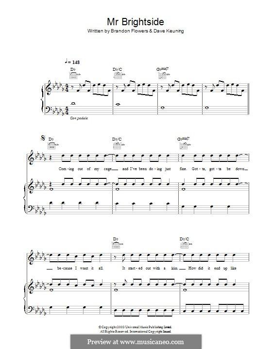 Mr. Brightside (The Killers): Für Stimme und Klavier (oder Gitarre) by Brandon Flowers, Dave Keuning, Mark Stoermer, Ronnie Vannucci