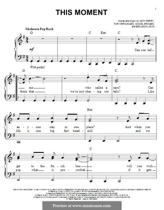 This Moment: Für Klavier by Benjamin Levin, Katy Perry, Mikkel Storleer Eriksen, Tor Erik Hermansen