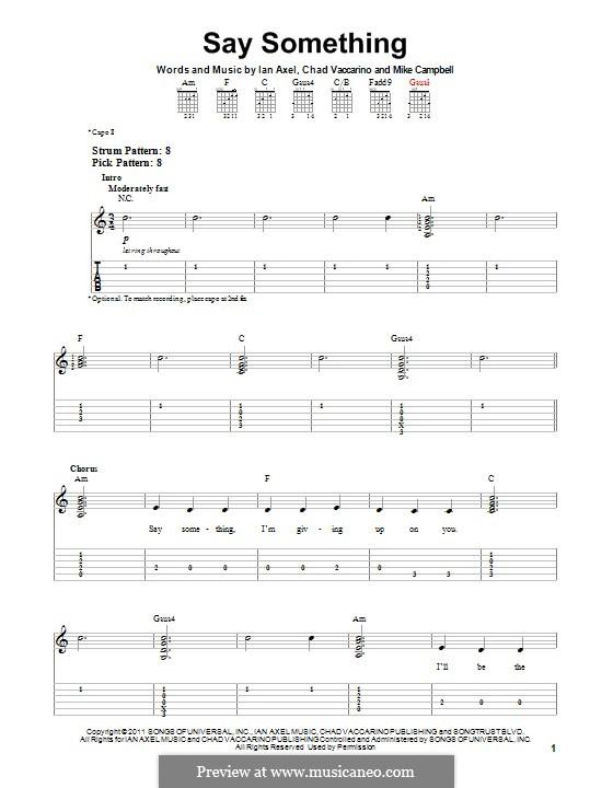 Say Something (A Great Big World): Für Gitarre mit Tab by Ian Axel, Chad Vaccarino