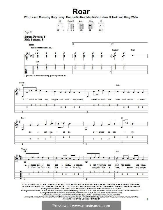 Roar: Für Gitarre mit Tab by Bonnie McKee, Katy Perry, Lukas Gottwald, Max Martin, Henry Russell Walter
