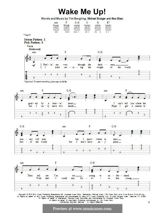 Wake Me Up: Für Gitarre mit Tab by Aloe Blacc, Michael Einziger, Avicii, Arash Andreas Pournouri
