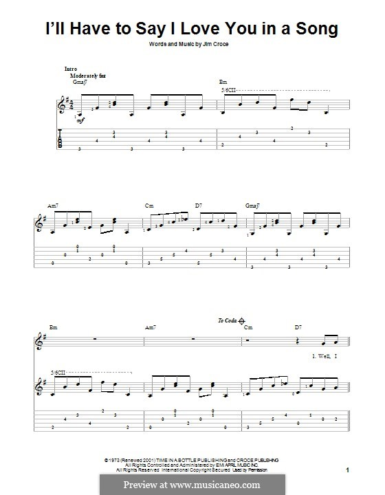 I'll Have to Say I Love You in a Song: Für Gitarre mit Tab by Jim Croce