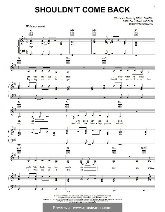 Shouldn't Come Back: Für Stimme und Klavier (oder Gitarre) by Carl Falk, Demi Lovato, Rami Yacoub, Savan Kotecha