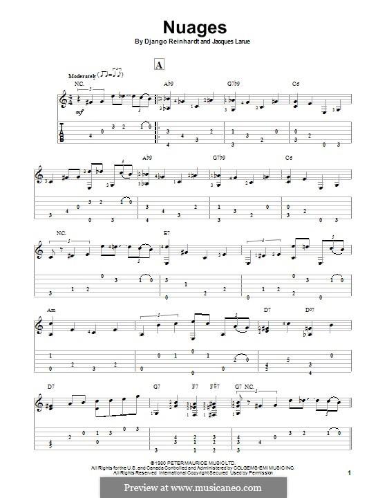 Nuages: Für Gitarre mit Tab by Jacques Larue