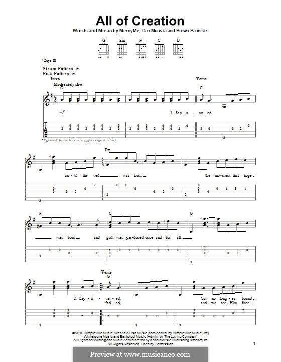 All of Creation (MercyMe): Für Gitarre mit Tab by Brown Mannister, Dan Muckala