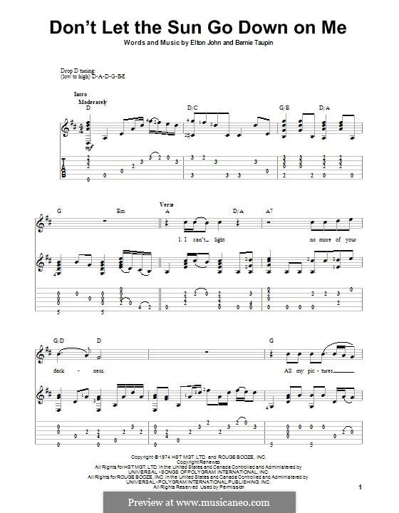 Don't Let the Sun Go Down on Me: Für Gitarre mit Tab by Elton John
