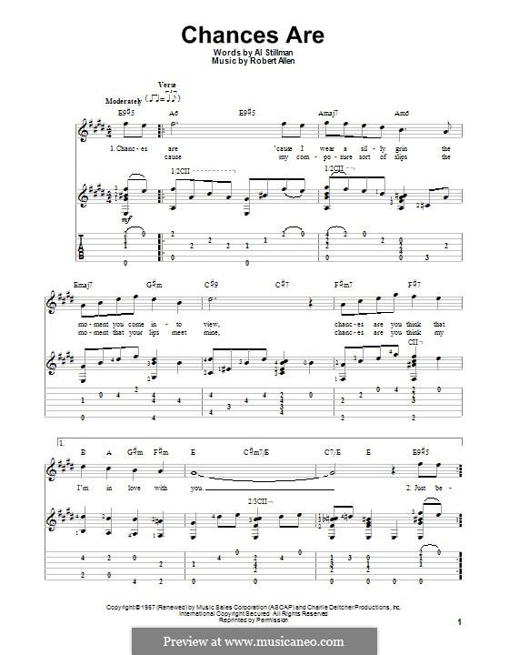 Chances Are (Johnny Mathis): Für Gitarre mit Tab by Robert Allen