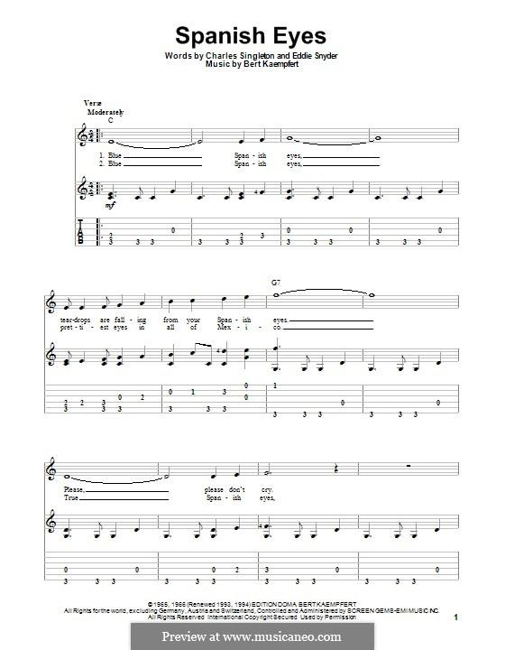 Spanish Eyes (Al Martino): Für Gitarre mit Tab by Bert Kaempfert, Charles Singleton, Eddie Snyder
