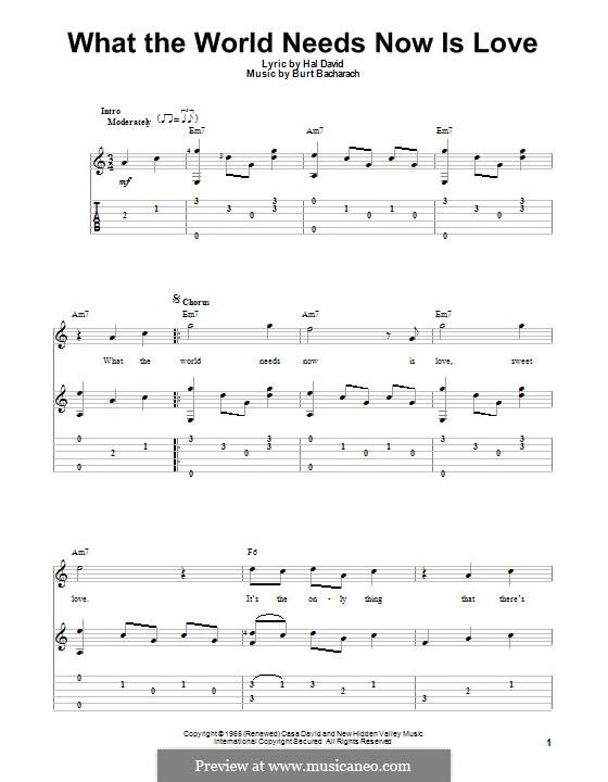 What the World Needs Now Is Love: Für Gitarre mit Tab by Burt Bacharach