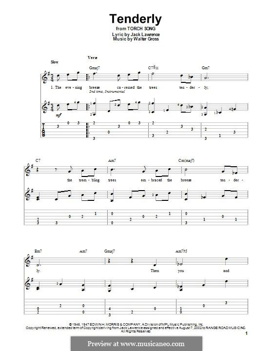Tenderly: Für Gitarre mit Tab by Walter Gross