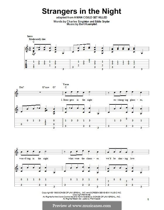 Strangers in the Night (Frank Sinatra): Für Gitarre mit Tab by Bert Kaempfert