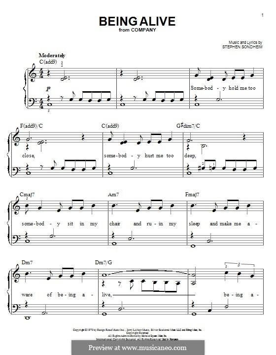 Being Alive (from Company): Für Klavier by Stephen Sondheim