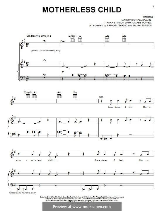 Motherless Children: Für Stimme und Klavier (oder Gitarre) by folklore