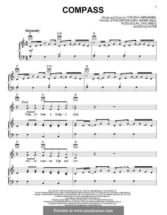Compass (Lady Antebellum): Für Stimme und Klavier (oder Gitarre) by Ammar Malik, Daniel Omelio, Emile Haynie, Mikkel Storleer Eriksen, Rosi Golan, Tor Erik Hermansen