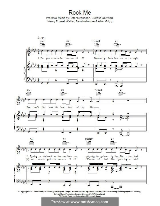Rock Me (One Direction): Für Stimme und Klavier (oder Gitarre) by Lukas Gottwald, Peter Svensson, Sam Hollander, Henry Russell Walter, Alan Grigg