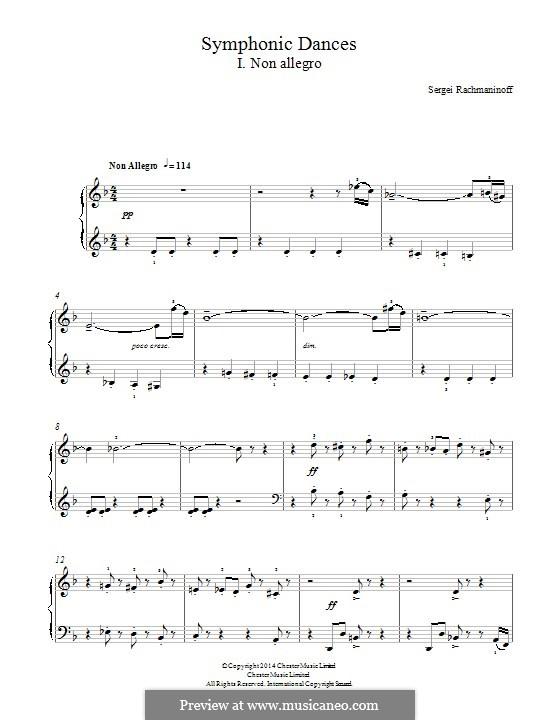 Symphonic Dances, Op.45: Teil I, für Klavier by Sergei Rachmaninoff