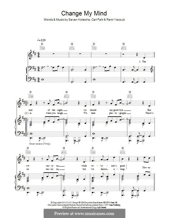 Change My Mind (One Direction): Für Stimme und Klavier (oder Gitarre) by Carl Falk, Rami Yacoub, Savan Kotecha