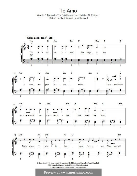 Te Amo: Für Klavier by James Fauntleroy II, Mikkel Storleer Eriksen, Rihanna, Tor Erik Hermansen