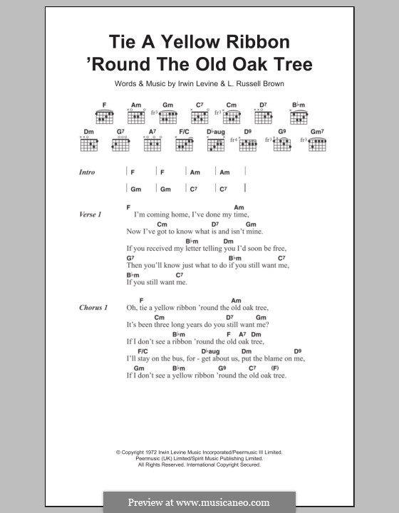 Tie a Yellow Ribbon Round the Ole Oak Tree (Tony Orlando): Texte und Akkorde by Irwin Levine, L. Russell Brown