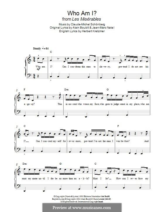 Who am I?: Für Klavier by Claude-Michel Schönberg