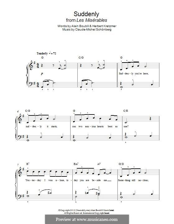 Suddenly: Für Klavier by Claude-Michel Schönberg