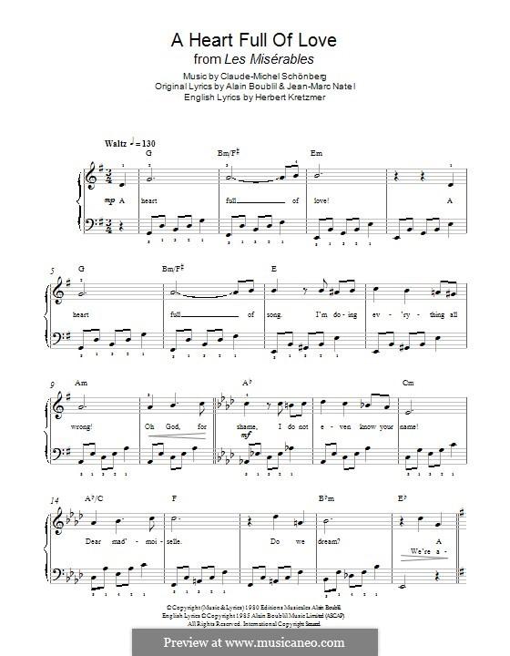 A Heart Full of Love: Für Klavier by Claude-Michel Schönberg