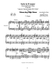 Suite in D Major, for piano, TWV 55:D6: Movement VII Gigue by Georg Philipp Telemann