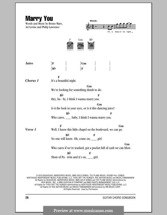 Marry You: Texte und Akkorde by Ari Levine, Bruno Mars, Philip Lawrence